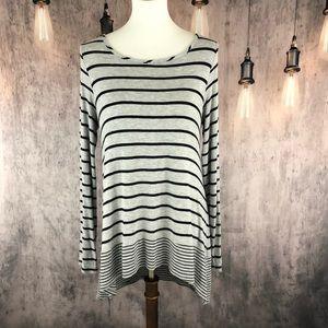 BCBGMazAzria Black and Gray Striped Hi-Lo Tee M
